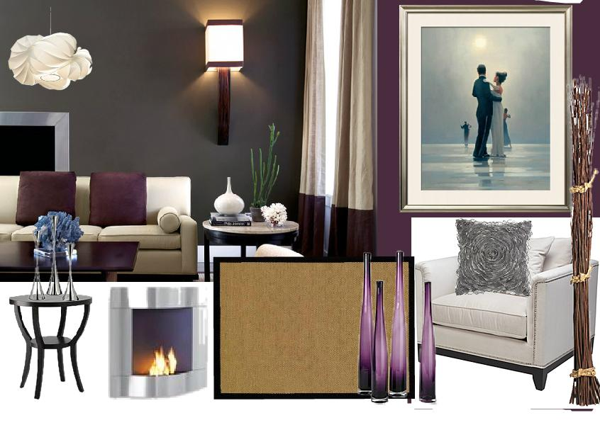 purple interior design mood board