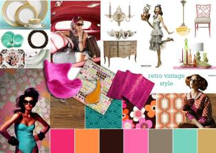 Retro vintage moodboard created on SampleBoard.com