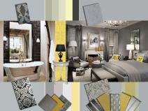 Grey and Yellow interior mood board