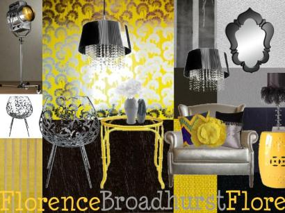 gray and yellow mood board