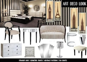art deco interior design mood board