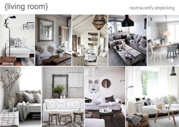 Neutral living room interior design mood board for Room design mood board