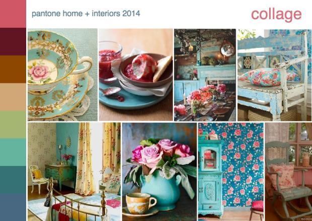 pantone color trend collage interior design mood board