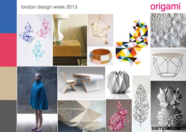London design week 2013 origami mood board