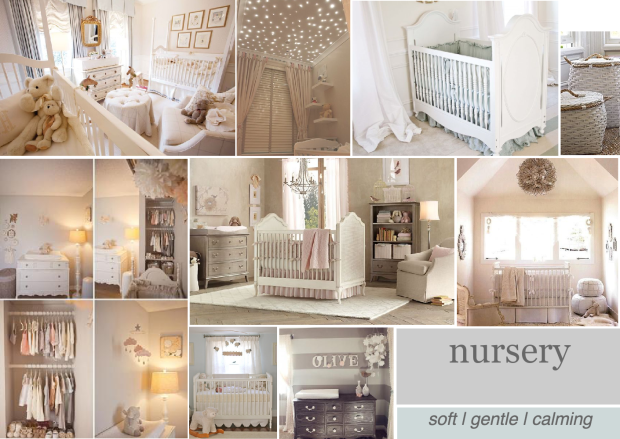 neutral nursery design concept mood board